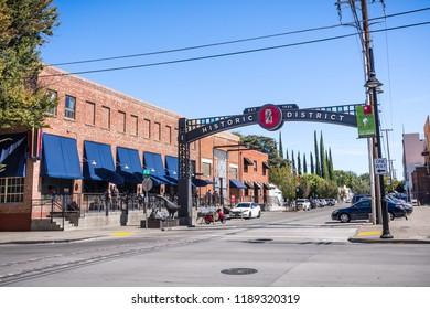 September 23, 2018 Sacramento / CA / USA - Urban landscape close to downtown Sacramento; Historic R street district sign;
