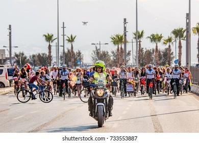 September 24, 2017, Konak, Izmir, Turkey, Izmir Ornate Women Bicycle Tour
