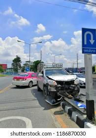 September 24, 2018 - Bang Bo, Samutprakarn Thailand : The pickup truck accident hit a Traffic island.
