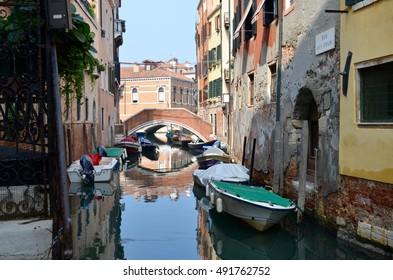September 25, 2013. Italy, Venice. Narrow canal in Venice.