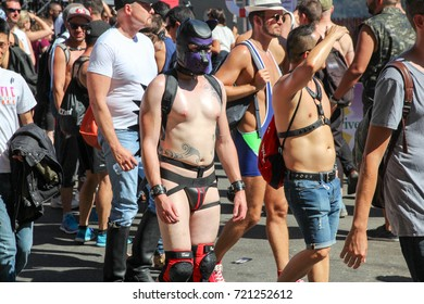 September 25, 2016 - San Francisco, California: Over 100,000 people attend the annual Folsom Street Fair. It is an annual event celebrating leather, BDSM, eroticism, nakedness, and  fetish lovers.