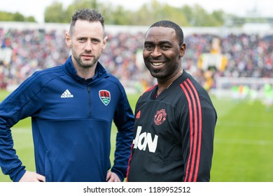 September 25th, 2018, Cork, Ireland - Andy Cole during the warm up on the Pairc Ui Chaoimh pitch for the Liam Miller Tribute match between Ireland and Celtic XI vs Manchester United XI.