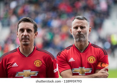 September 25th, 2018, Cork, Ireland - Gary Neville and Ryan Giggs line up before the start of the Liam Miller Tribute match between Ireland and Celtic XI vs Manchester United XI.