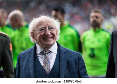 September 25th, 2018, Cork, Ireland - Ireland President Michael D. Higgins at Pairc Ui Chaoimh pitch for the Liam Miller Tribute match between Ireland and Celtic XI vs Manchester United XI.