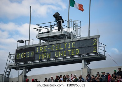 September 25th, 2018, Cork, Ireland - Board showing the score at the Liam Miller Tribute match between Ireland and Celtic XI vs Manchester United XI.