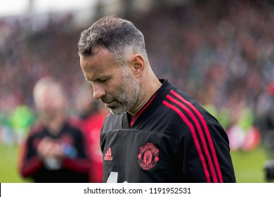 September 25th, 2018, Cork, Ireland - Ryan Giggs looking down on the lap of honor at the Liam Miller Tribute match.