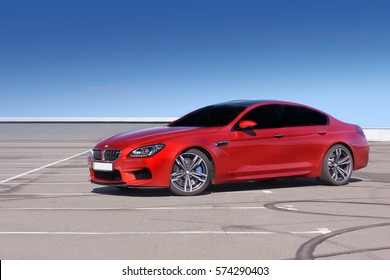 September 26, 2016, Kyiv. BMW M6 in a clean sky background. Editorial photo.