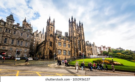 September 26, 2017. A view of assembly Hall of New College, The University of Edinburgh with some tourists. The Assembly Hall is in the neo-gothic building situated directly East of Edinburgh Castle.