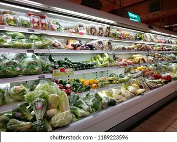 September 26, 2018 - Shah Alam, Malaysia. Selection of vegetables were displayed on local supermarket's grocery area for local customers to make best selection here.