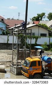 SEPTEMBER 27, 2015 ; NONTHABURI - THAILAND : Detail of construction and equipment using in concrete bridge construction.