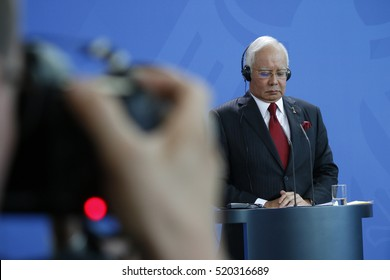 SEPTEMBER 27, 2016 - BERLIN: the Prime Minister of Malaysia Najib Razak at a press conference after a meeting with the German Chancellor in the Federal Chanclery in Berlin.