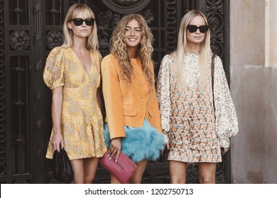 September 27, 2018: Paris, France - Models, bloggers and influencers with fashionable and stylish outfits during Paris Fashion Week  - PFWSS19
