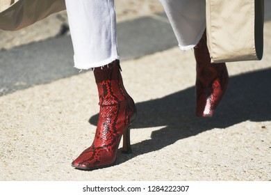 September 27, 2018: Paris, France - Girl with fashionable shoes and stylish outfit during Paris Fashion Week  - PFWSS19
