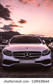 september 27 in 2018, seoul in south republic korea. mercedes benz car in parking area on sunset sky. mercedes benz is german luxury vehicle company in global.
