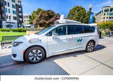 """September 27, 2018 Sunnyvale / CA / USA - Close up of Waymo self driving car displayed at """"Sunnyvale Technology Business Expo"""" in Silicon Valley"""