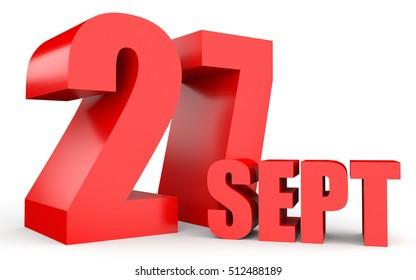 September 27. Text on white background. 3d illustration.