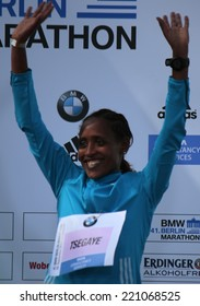 SEPTEMBER 28, 2014 - BERLIN: Tirfi Tsegaye (Ethiopia), the winner of the women competition - 42nd Berlin Marathon, Berlin.