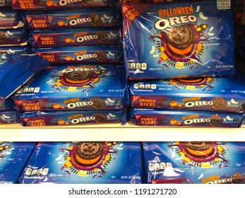 SEPTEMBER 28 2018 - CRYSTAL, MN: Special edition Halloween flavored Oreo cookies sit on the shelves at a supermarket grocery store. Chocolate cookies with creme flavored filling, by Nabisco