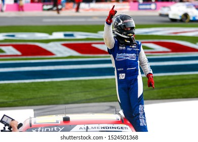 September 28, 2019 - , , : AJ Allmendinger (10) celebrates his win for the Drive for the Cure 250 presented by Blue Cross Blue Shield of North Carolina at Charlotte Motor Speedway
