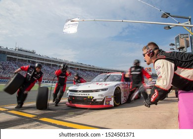 September 28, 2019 - Concord, North Carolina, USA: AJ Allmendinger (10) makes a pit stop for the Drive for the Cure 250 presented by Blue Cross Blue Shield of North Carolina at Charlotte