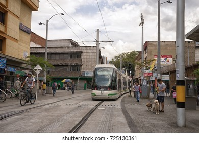 September 29, 2017 Medellin, Colombia: modern tramway rolls through the La Candelaria area of the city