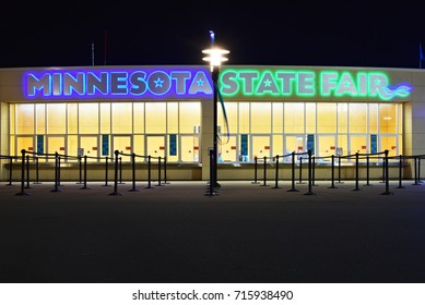 SEPTEMBER 29, 2017 - MINNEAPOLIS, MN : Closed for the night ticket booth at the entrance of the Minnesota State Fair in Minneapolis, MN on September 29, 2017