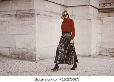 September 29, 2018: Paris, France - Xenia van der Woodsenseen in a fashion outfit during Paris Fashion Week - PFWSS19