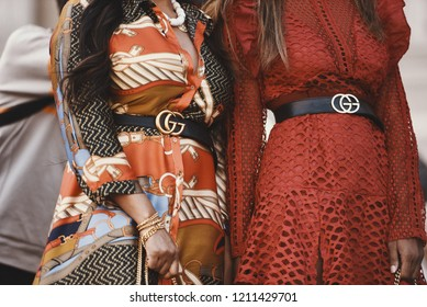 September 29, 2018: Paris, France - Girls wearing a Gucci outfit during Paris Fashion Week  - PFWSS19