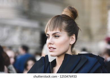 September 29, 2018: Paris, France - Influencer with stylish outfit posing during Paris Fashion Week  - PFWSS19