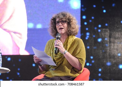 September 2nd, 2017. Mannheim, Germany. Robin Curtis, Lt. Saavik in Star Trek III + IV, at her panel at Startopia. Star Trek Actors and Trekkies got together at this convention in Mannheim, Germany