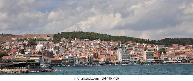 September 3, 2014: Mytilene, Greece: Looking at the city of Mytilene from the harbour