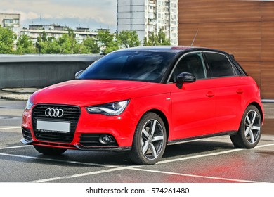 September 3, 2015; Kiev, Ukraine. Red Audi A3. Editorial photo.