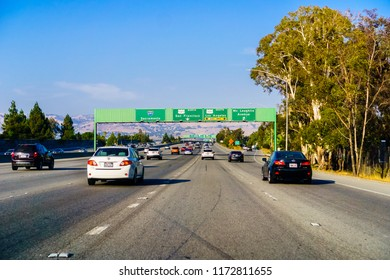 September 3, 2018 San Jose / CA / USA - Approaching a freeway junction in south San Francisco bay area; displayed driving lanes guidance for Sacramento, San Francisco and Los Angeles;