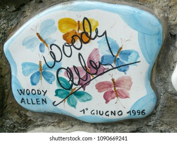 September 30, 2009 - Alassio (Italy) - Ceramics signed by the great Hollywood actor and director Woody Allen set in the famous wall of Alassio.