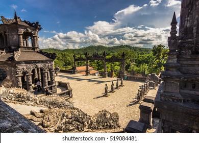 September 30, 2014: Panorama of the Khai Dinh tombs in Hue, Vietnam