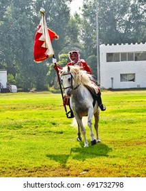 September 30, 2014: A police horsemen in Bahrain goes through his paces during a show in Budaiya.