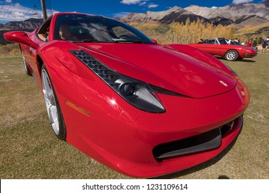 September 30, 2018 - Red Ferrari at Telluride Autumn Car show