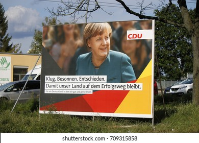 SEPTEMBER 4, 2017 - BERLIN: an election poster showing German Chancellor Angela Merkel to the upcoming general elections in Germany.