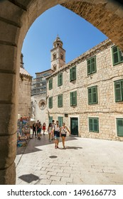September 4, 2018, Dubrovnik, Croatia. Narrow streets and cozy in the old town of Dubrovnik. Medieval architecture