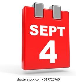 September 4. Calendar on white background. 3D illustration.