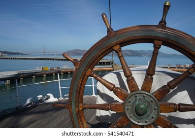 September 5, 2015, Balclutha, San Francisco Maritime National Historical Park, San Francisco. Photo taken at the helm of the 1886 square-rigger Balclutha, with the Golden Gate Bridge in the background