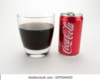September 5, 2016: Athens, GA: Illustrative editorial of a glass of freshly poured Coca Cola soda