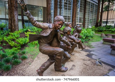 September 5, 2017 San Francisco/USA - Children Statue in the Redwood Park at the base of Transamerica Pyramid in downtown San Francisco