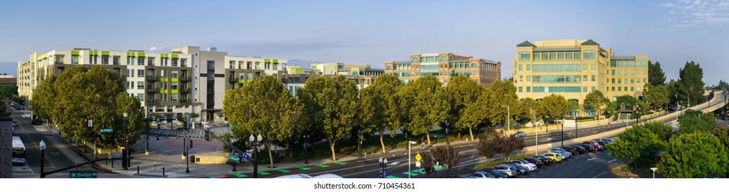 September 5, 2017 Sunnyvale/CA/USA - Panoramic aerial view of downtown Sunnyvale in the morning; south San Francisco bay area