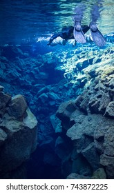 September 5, 2017-Silfra, Iceland-A snorkeler explores the Silfra Fissure in Iceland's Thingvellir National Park.