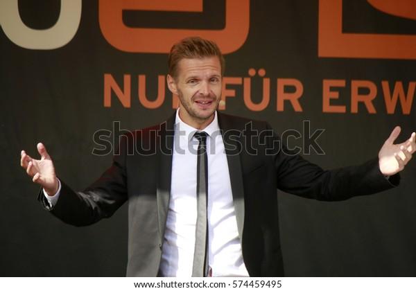 """SEPTEMBER 6, 2015 - BERLIN: comedian Florian Schroeder at the """"Radio Eins Parkfest"""", Park am Gleisdreieck, Berlin."""