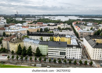 September 6, 2015.Helsinki.View of Helsinki from the tower of the Olympic stadium.Finland.