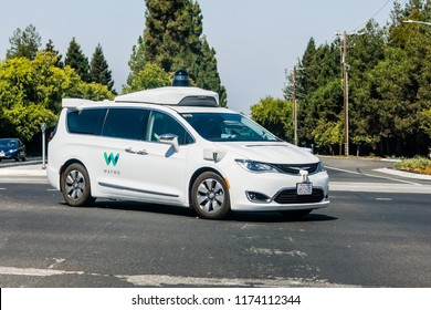 September 6, 2018 Mountain View / CA / USA - Waymo self driving car performing tests on a street near Google's headquarters, Silicon Valley