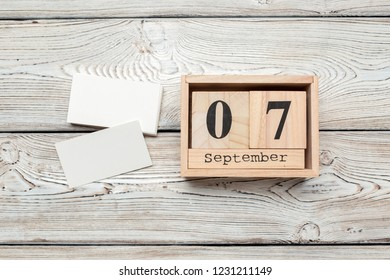 September 7th. Image of september 7 wooden color calendar on wooden background. Autumn day. Empty space for text