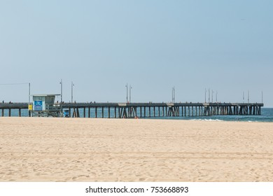 SEPTEMBER 8, 2017 - VENICE, CALIFORNIA:  The Venice Beach fishing pier, a 1300-foot long concrete pier in Los Angeles County.